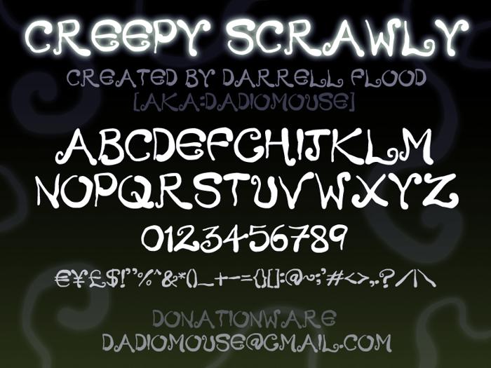 Creepy Scrawly Font poster