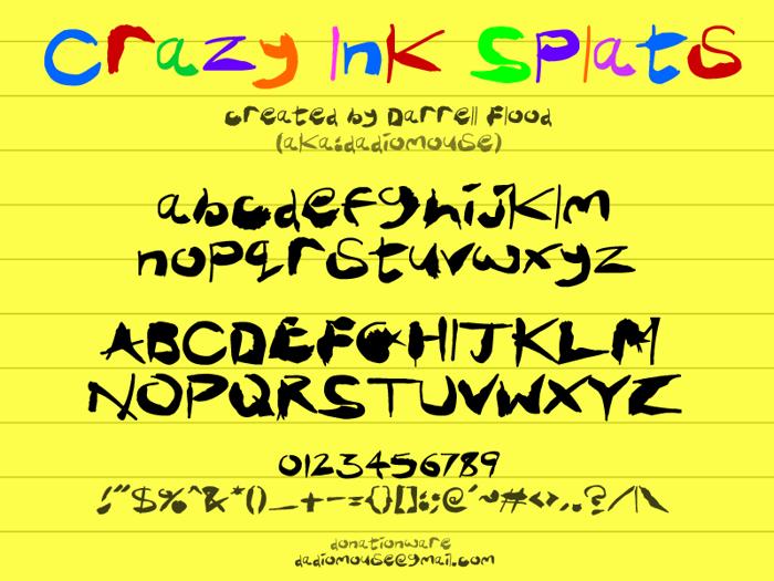 Crazy Ink Splats Font poster