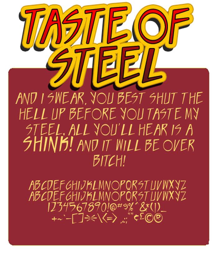 Taste of steel Font poster