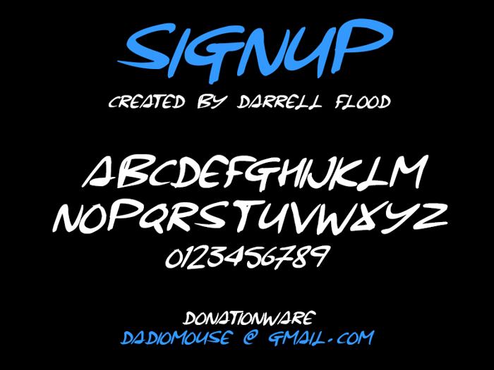 Signup Font poster
