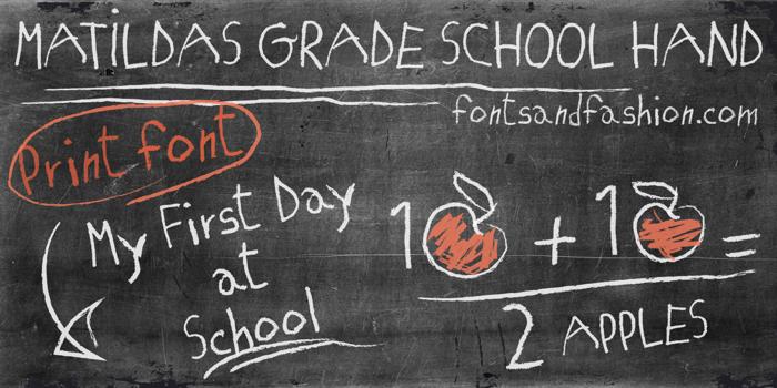 MATILDAS GRADE SCHOOL HAND Font poster