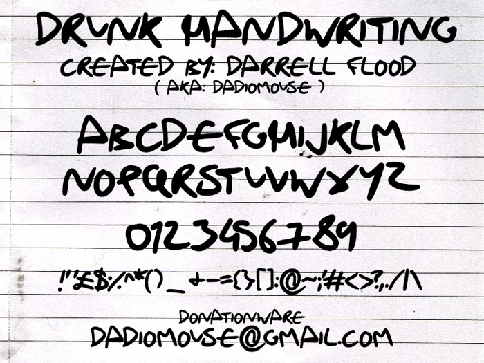 Drunk Handwriting Font poster