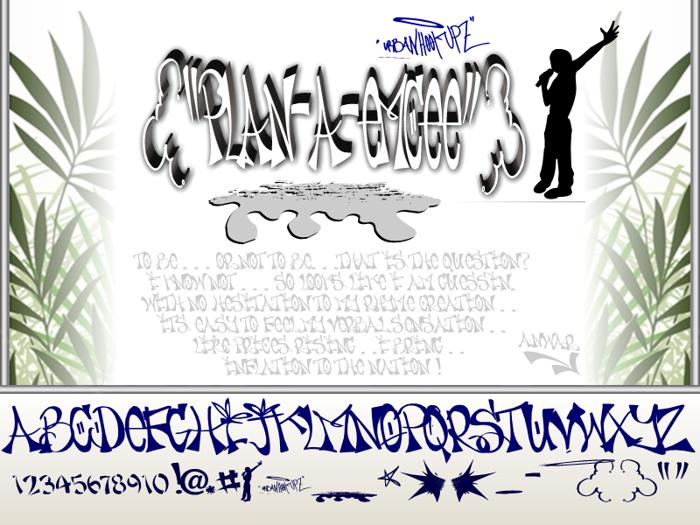 PLAN-A-EMCEE Font poster