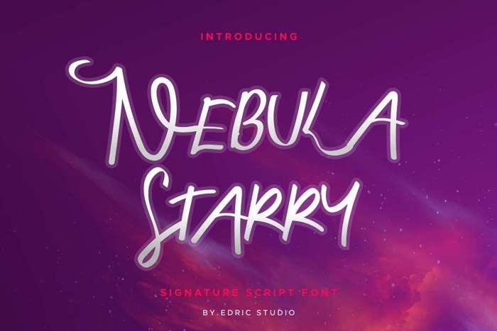 Nebula Starry Font poster