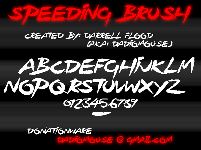 Speeding Brush Font poster