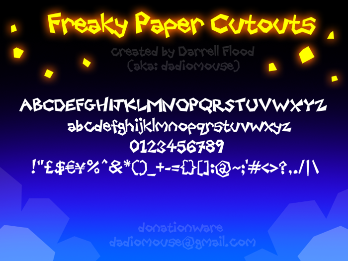 Freaky Paper Cutouts Font poster