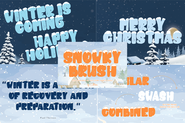 snowky brush Font poster