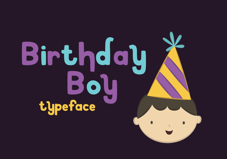 Birthday Boy Font cartoon design