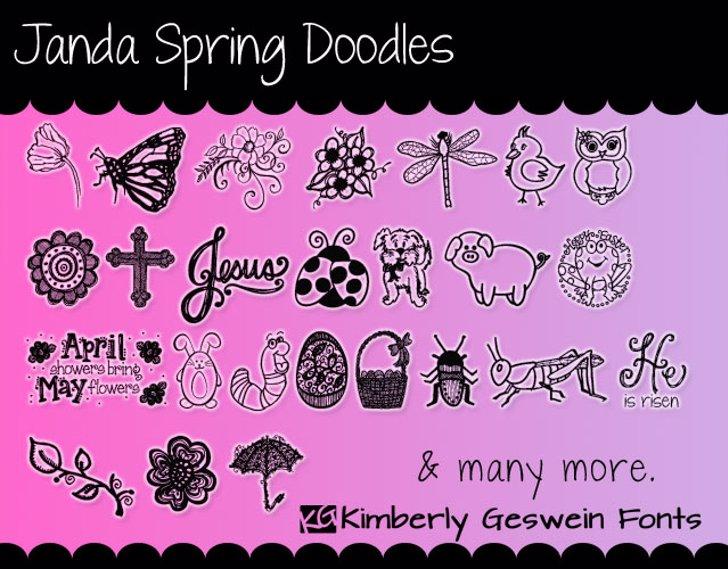 Janda Spring Doodles Font cartoon illustration