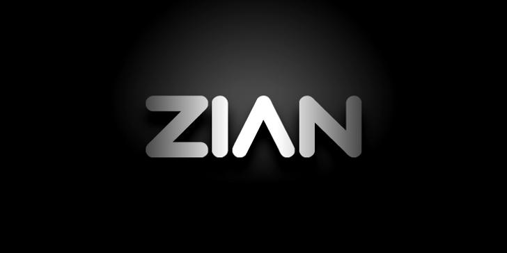 Zian Font screenshot design