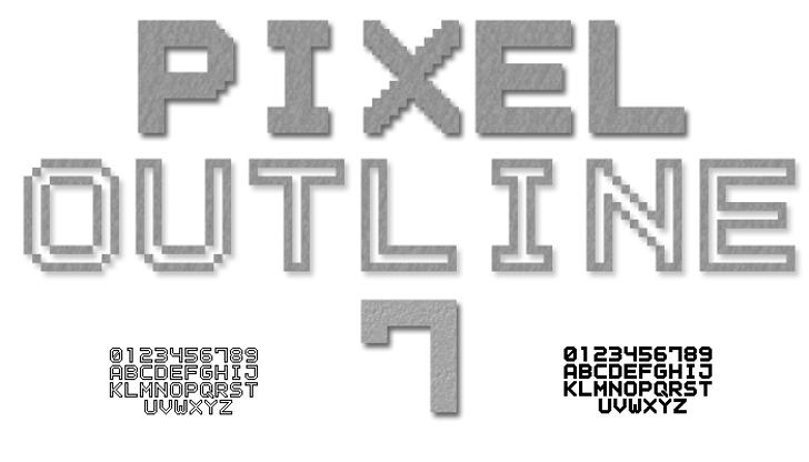 Outline Pixel7 Solid Font design typography