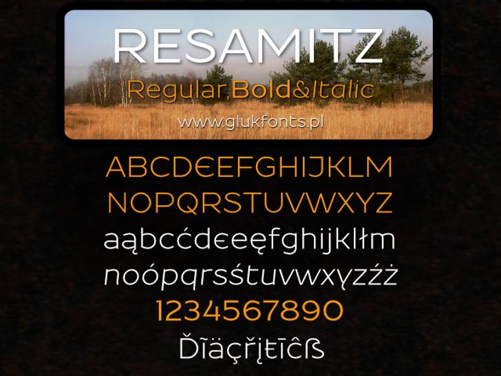 Resamitz Font screenshot design