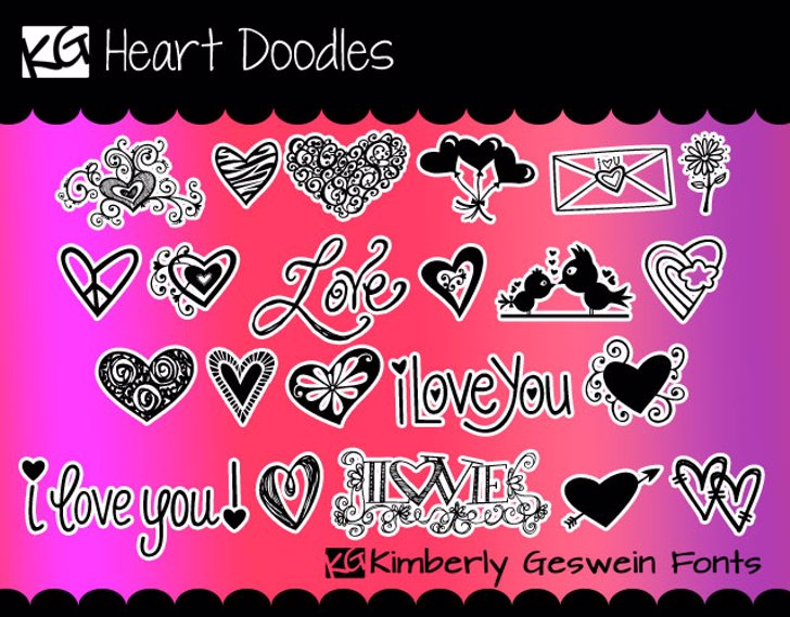 KG Heart Doodles Font cartoon poster