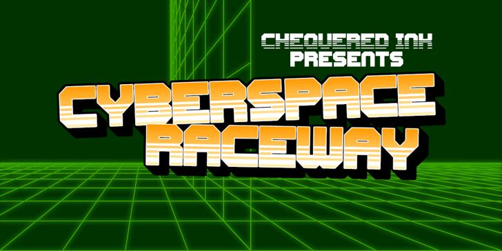 Cyberspace Raceway Back Font screenshot design