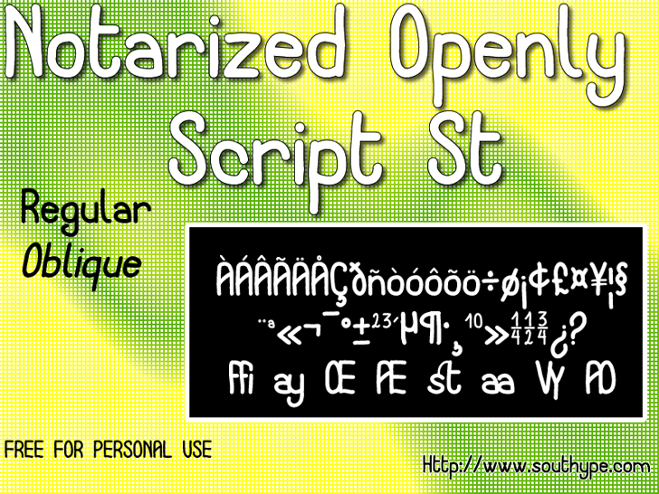 Notarized Openly Script St Font screenshot graphic