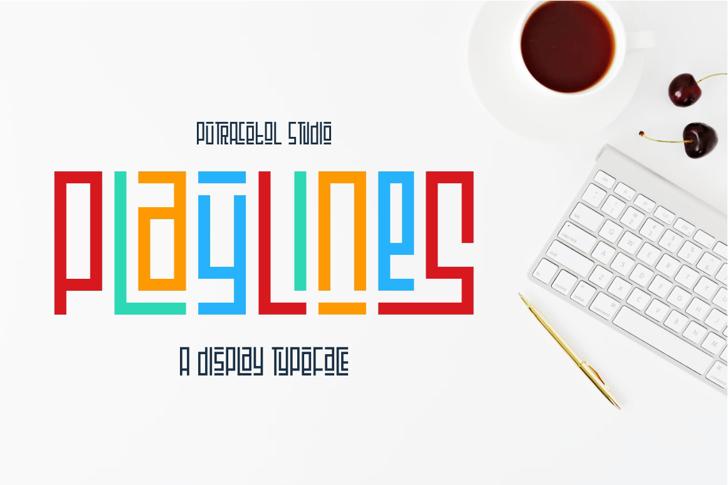 Playlines Free Font design screenshot