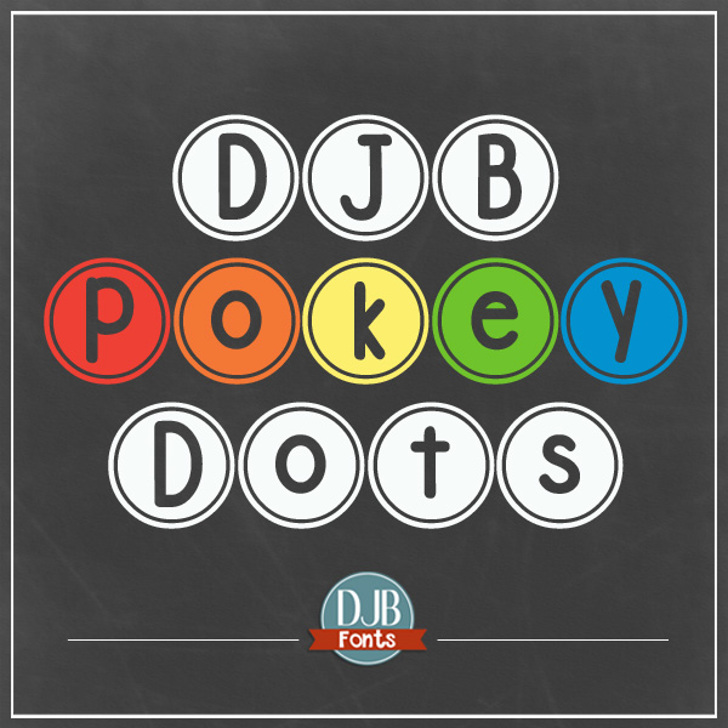 DJB Pokey Dots Font screenshot design