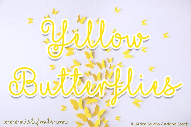 Mf Yellow Butterflies Font design typography