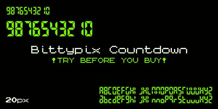 Bittypix Countdown Font screenshot design