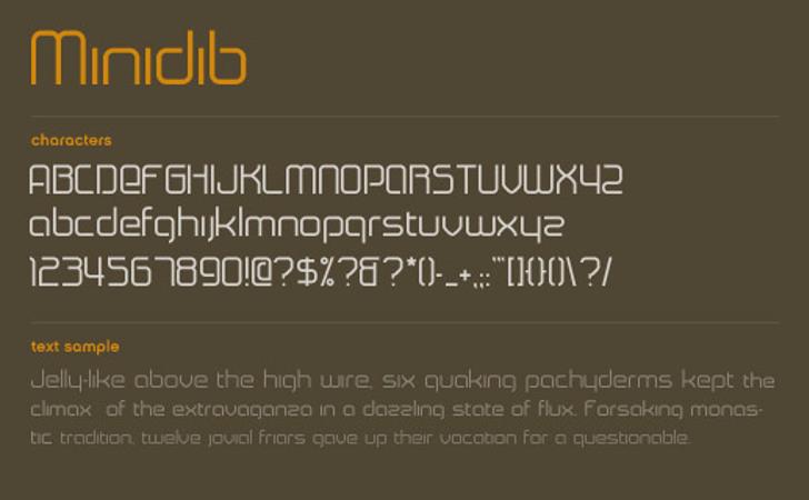 Minidib Font design screenshot