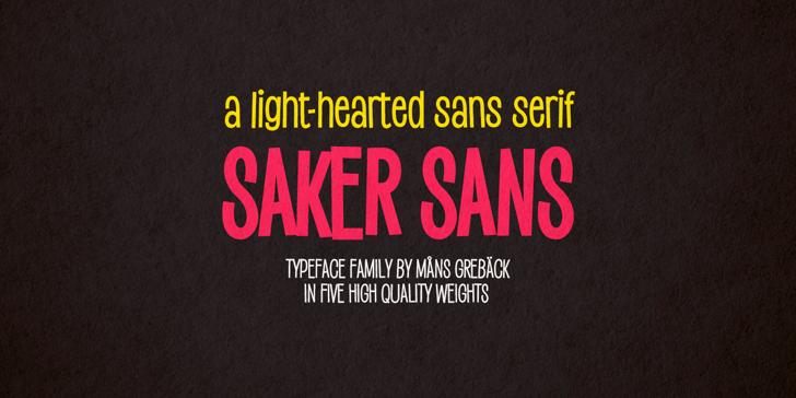 Saker Sans Light PERSONAL USE Font design poster