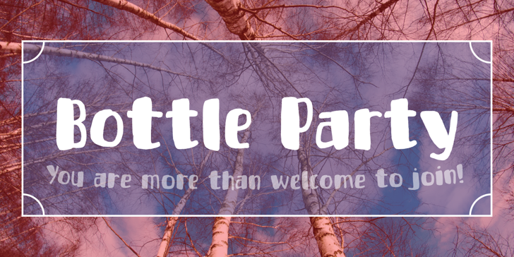 Bottle Party DEMO Font text tree