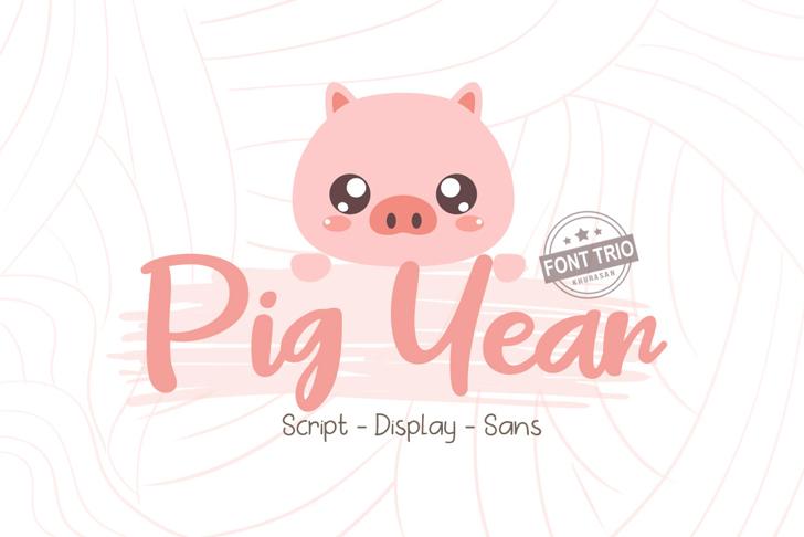 Pig Year Font cartoon