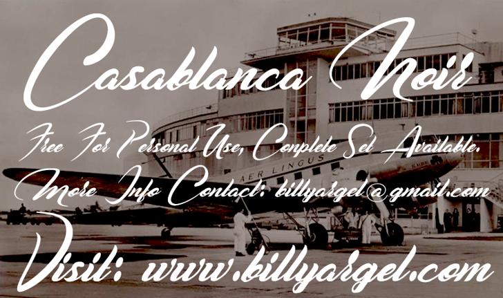 Casablanca Noir Personal Use Font text ship
