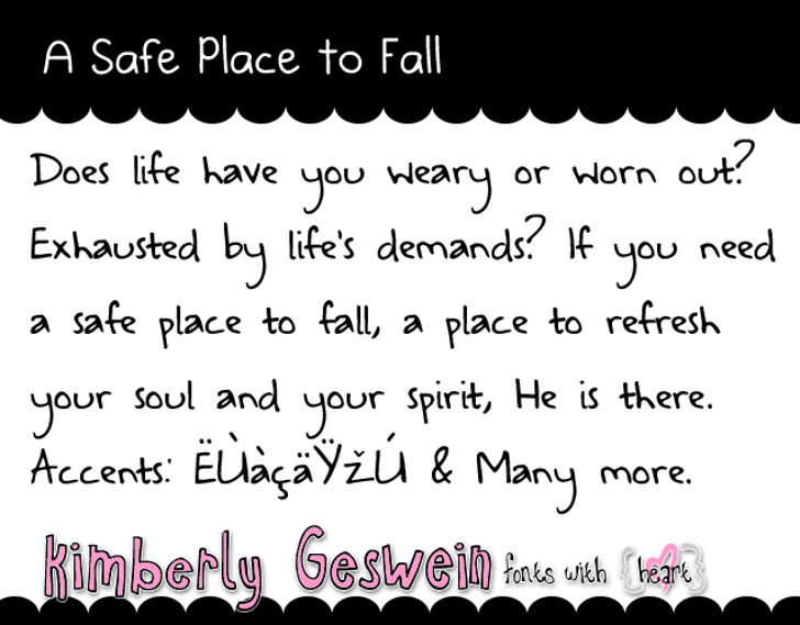 A Safe Place to Fall Font handwriting screenshot