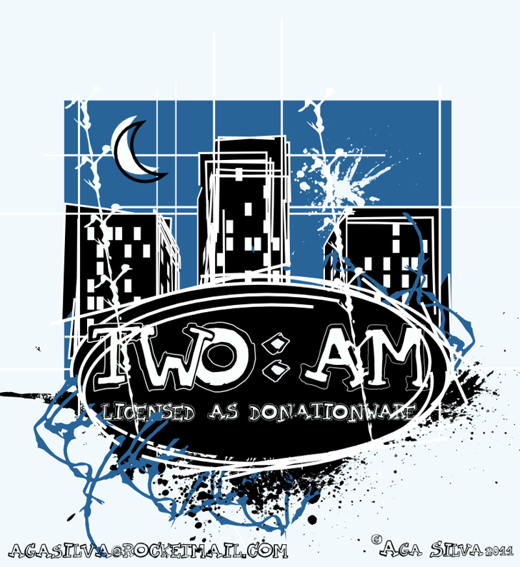 TWO AM Font design cartoon