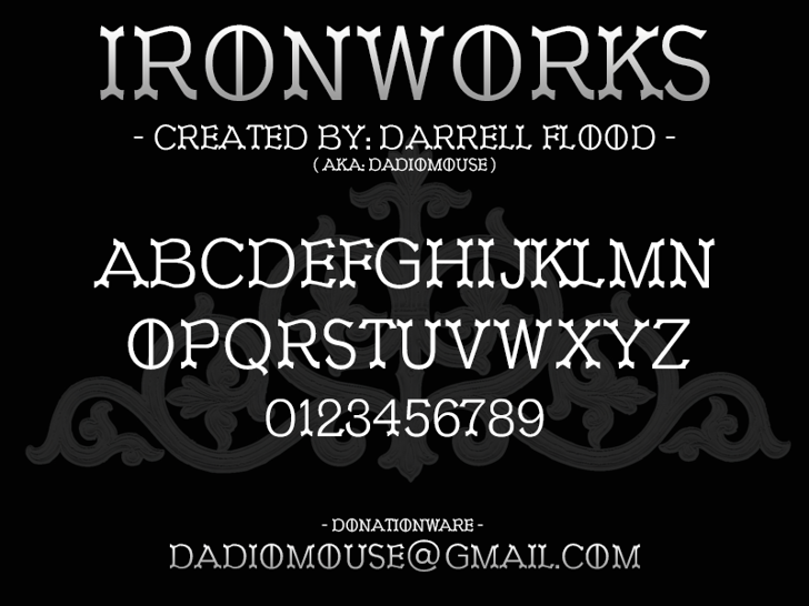 Ironworks Font screenshot design
