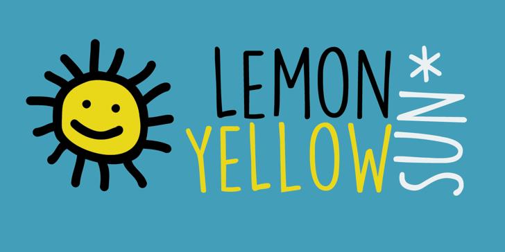 DK Lemon Yellow Sun Font design graphic