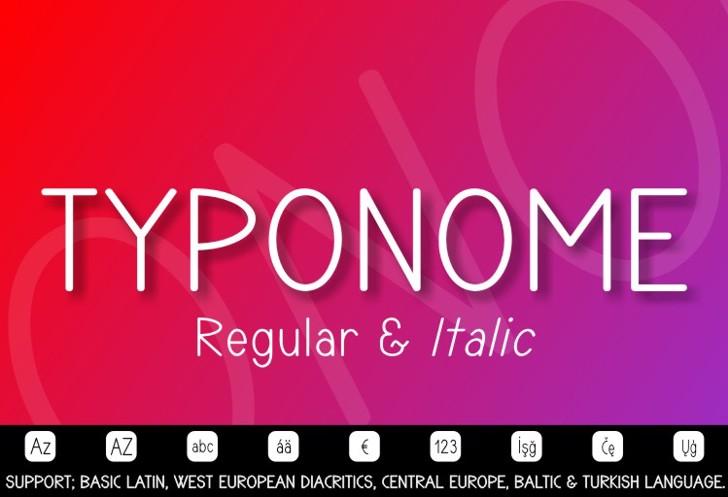 TYPONOME Font screenshot design