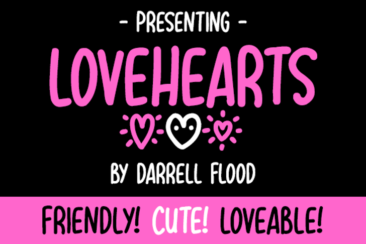 Lovehearts XYZ Font poster graphic