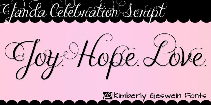 Janda Celebration Script Font handwriting text