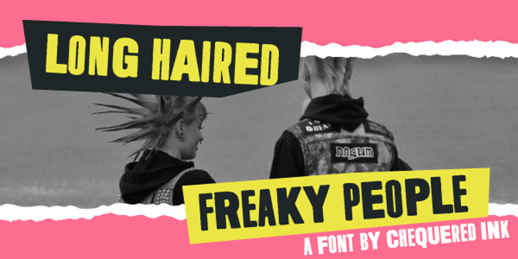 Long Haired Freaky People Font text clothing