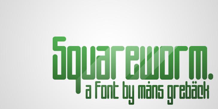 Squareworm Font design poster