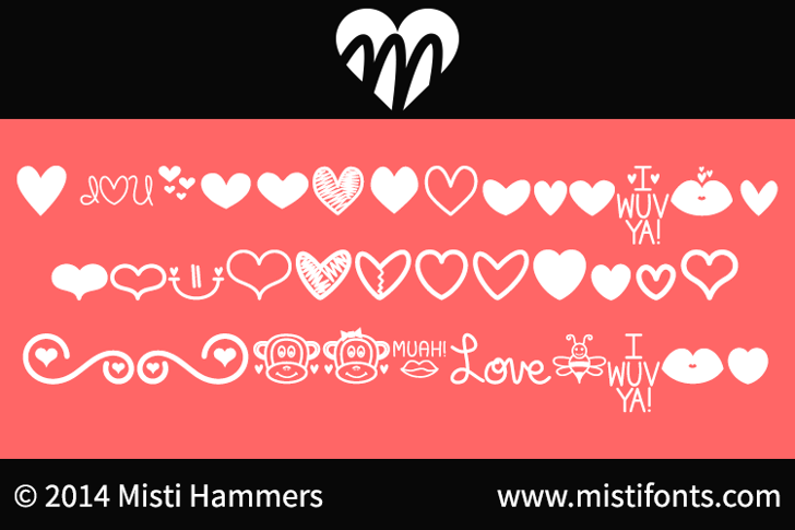 MF Love Dings Font graphic cartoon