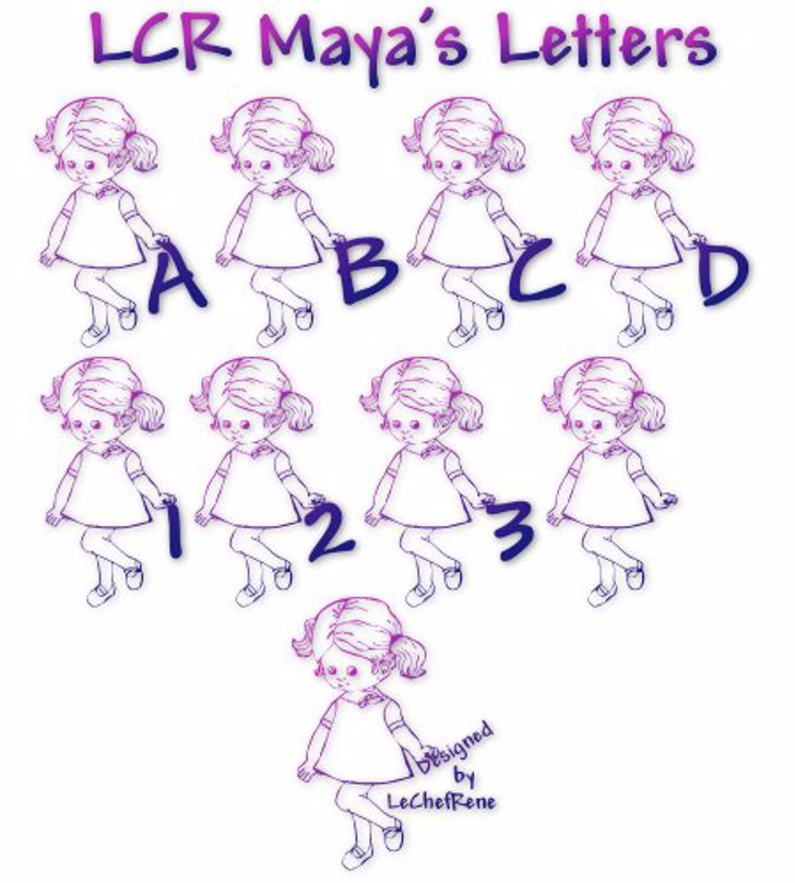 LCR Maya's Letters Font sketch drawing