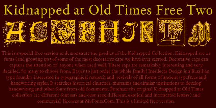 Kidnapped At Old Times Free Two Font poster text