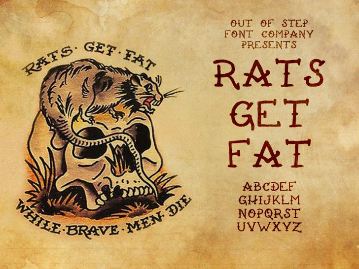Rats Get Fat Font text cartoon