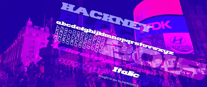 Hackney Block Font scene stage