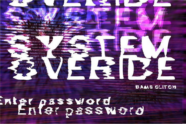 Bams Glitch Demo Font design graphic