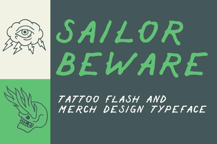 Sailor Beware Font handwriting design