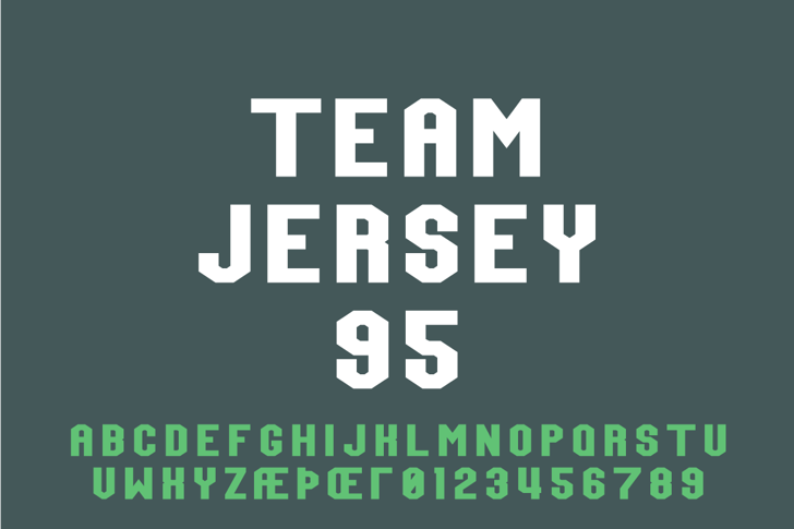 Team Jersey 95 Demo Font design screenshot