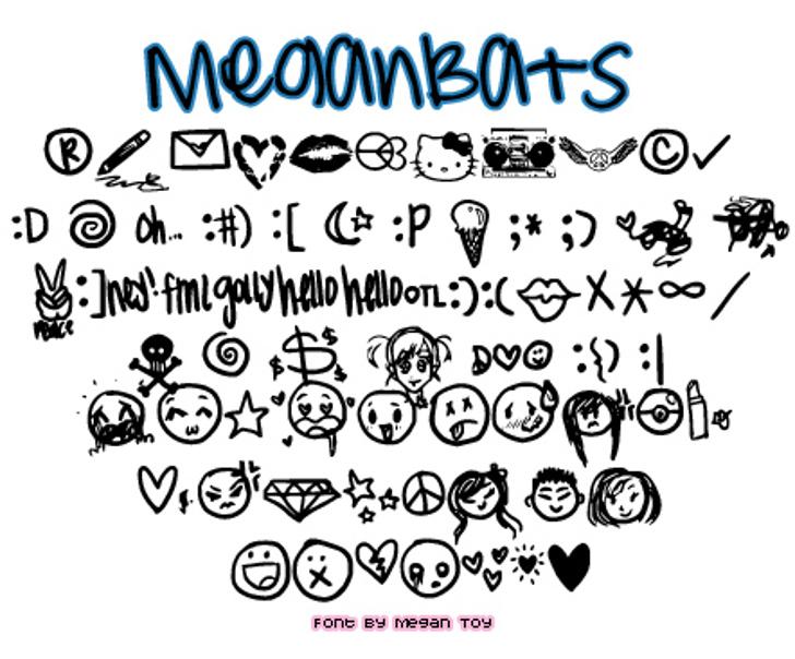MeganBats Font cartoon illustration