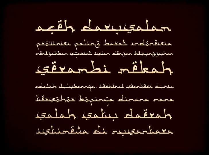 Aceh Darusalam Font text handwriting