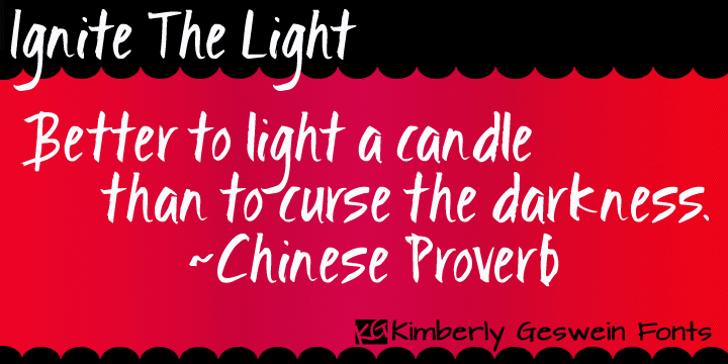 Ignite the Light Font text design