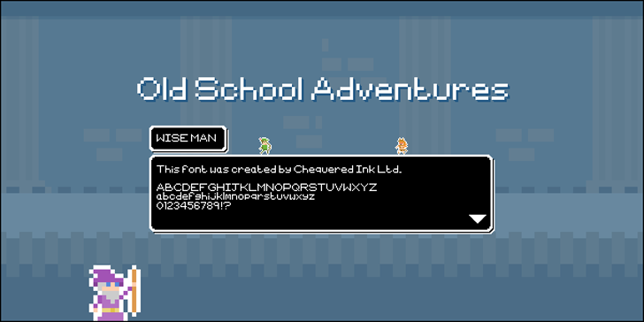Old School Adventures Font screenshot design