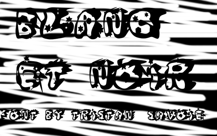 Blanc et Noir Font cartoon drawing